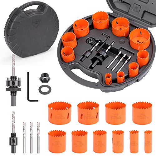 """HORUSDY 16-Piece Bi-Metal Hole Saw Kit, 10pcs Durable High Speed Steel Saw Set 3/4"""" to 2-1/2"""", Ideal for Rapid Cutting of Metal, Wood, Plastic, Dry Wall."""