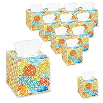 Lucky Super Soft Facial Tissues Cube Boxes 12 Tissue Boxes With 100 Sheets Each Colorful Assorted Designs 2-ply Paper Facial Tissues - Bulk Value Pack  Total 1,200 Tissues