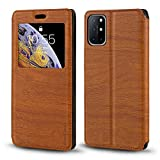 Oneplus 8T Case, Wood Grain Leather Case with Card Holder and Window, Magnetic Flip Cover for Oneplus 8T