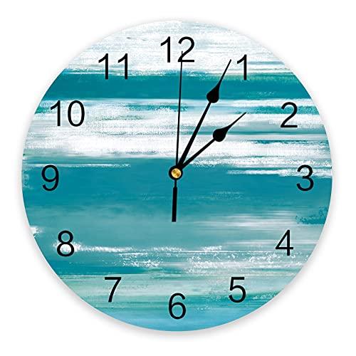 Rgzqrq Reloj de Pared de impresión de Textura Turquesa Cian Abstracta Reloj de diseño Moderno decoración del hogar Sala de Estar Mudo de Pared 25x25 cm