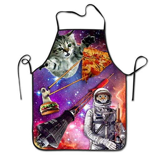 Galaxy Space Cat Picture Apron Kitchen Chef Cooking Aprons For Painting Women Men Cute Funny