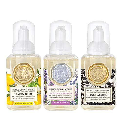 Michel Design Works Mini Foaming Soap 3-Pack Set (Lavender Rosemary, Lemon Basil, Honey Almond)
