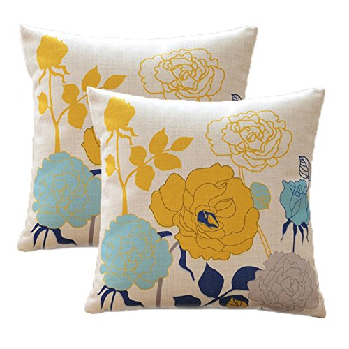 sykting Blue and Yellow Pillow Covers Farmhouse Cotton Linen Outdoor Fall Pillow Covers 18x18 inch Decorative for Couch Sofa Bed Floral Pattern Pack of 2