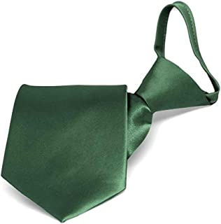 "TieMart Boys' Forest Green Solid Color Zipper Tie, 14"" Length"