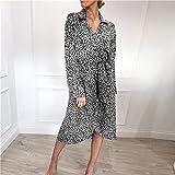 DYHSW Kleid Kurzarmkleid Vintage Leopard Wickelkleid Langarm Frühling Sommer Chiffon Kleider Lässig V-Ausschnitt Elegantes Partykleid