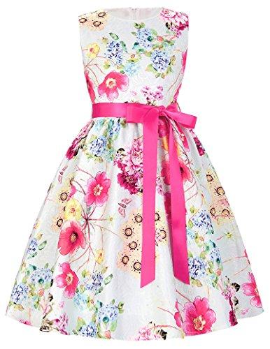 Aermellos A-Linie weich Blumen Muster Ballkleid Partykleid 7-8 Jahre CL8997-1