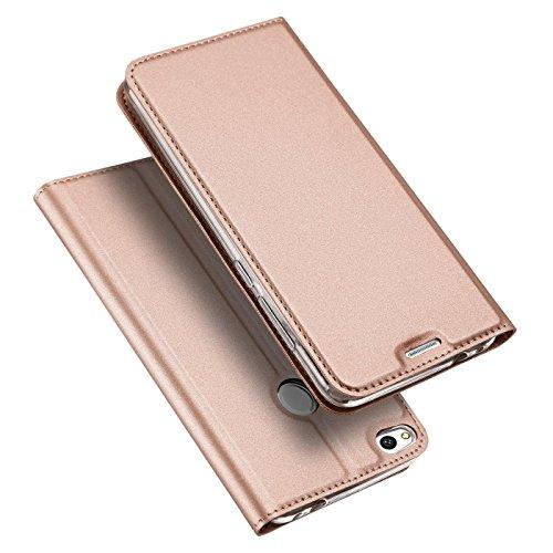 Verco Handyhülle für P8 Lite 2017, Premium Handy Flip Cover für Huawei P8 Lite 2017 Hülle [integr. Magnet] Book Hülle PU Leder Tasche, Rosegold