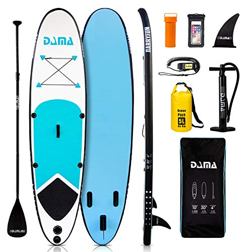 "DAMA Youth Board (10'30"" 4"") Inflatable Sup Board, Drop Stitch & PVC, All Round Board, Kids Board, Kayaka Board, Floating Paddle, Hand Pump Quick Inflate, Safe Leash, Youth & Beginner, Blue"