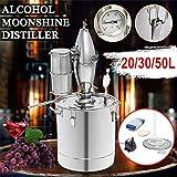 Xin Hai Yuan 20L / 30L / 50L Vino Cerveza Alcohol Alcohol Alcohol Ilegal Destilador Inicio DIY Kit de Inicio Brewing Destilador Destilador de Cobre Equipme,20L