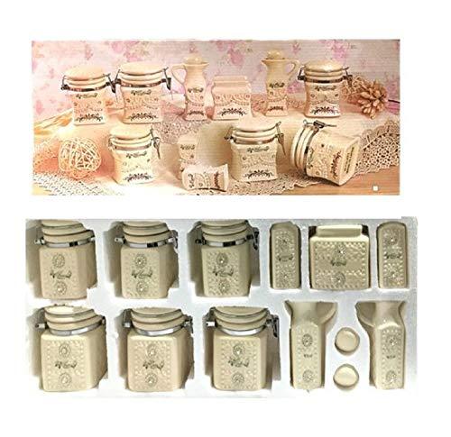 Ducomi Set med 13 kryddburkar i keramik med hermetisk stängning - kryddburkar för te, socker, kaffe, salt, peppar, olja, vinäger och servetthållare - presentidé köksset