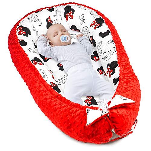Amazinggirl Reductor de Cuna 90x50 cm - nidos para Bebes colecho Bebe Cuna algodón y Material Minky cálido Rojo
