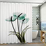 kanglang Waterproof Padded Bathroom Shower Curtain Set Free Perforated Bathroom partition Curtain-Suit-Water Green Flower+Pole_120cm Wide*180cm High
