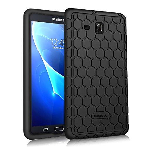 Fintie Silikon Hülle für Samsung Galaxy Tab A 7.0 SM-T280 / SM-T285 (7 Zoll) Tablet-PC - [Bienenstock Serie] Leichte rutschfeste Stoßfeste Silikon Schutzhülle Tasche Hülle Cover, Schwarz