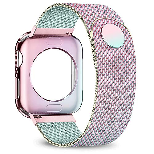 jwacct Compatible for Apple Watch Band with Screen Protector 38mm 40mm 42mm 44mm, Soft TPU Frame Case Cover Bumper Compatible for iwatch Series 1/2/3/4/5 Multicolor
