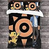 Dodunstyle Juego de sábanas de 3 Piezas con Funda nórdica Digimon Adventure, sábana súper Suave Personalizada, Dos Fundas de Almohada y una Funda de edredón C10814