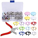 120 Sets snap Setter Hand Pliers Setting Tool,Metal Ring Button Press Studs Sewing Craft Fastener Snap Pliers Craft Tool 9.5mm, Aunifun