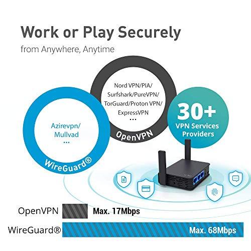 GL.iNet GL-AR750S-Ext (Slate) Gigabit AC VPN Reiserouter, 300Mbps(2.4G)+433Mbps(5G) Wi-Fi, 128MB RAM, MicroSD-Unterstützung, Repeater Bridge, OpenWrt/LEDE vorinstalliert, Cloudflare DNS, Netzadapter