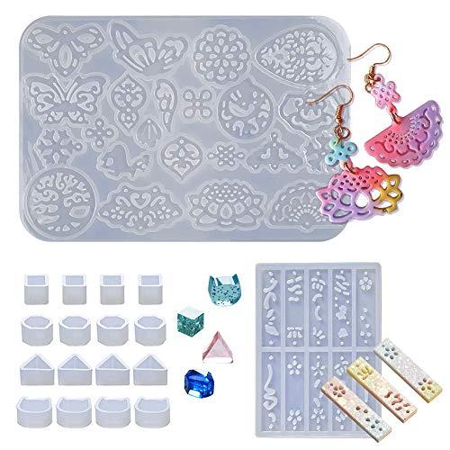 WXLAA - Molde de resina para pendientes, molde de silicona para crear joyas epoxi colgantes artesanales