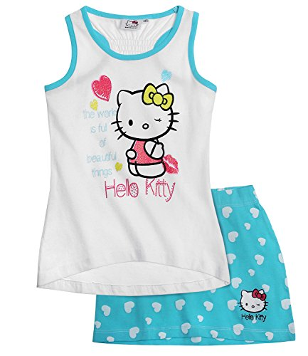 Hello Kitty Camiseta tirantes con falda - Azul - 104