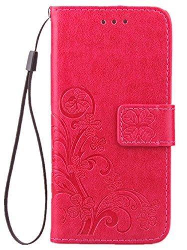 Tasche für Apple iPhone SE 2020 iPhone 8 und iPhone 7 Case Leder aus Textil Schutz Hülle Four Leaves Clover (Rote)