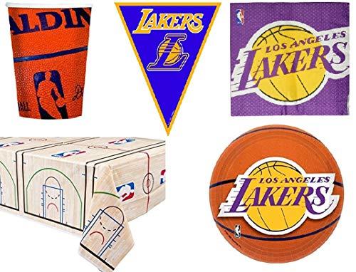 BIGIEMME S.R.L. Set Kit NBA Los Angeles Lakers Coordinato per Feste e Compleanni 16 Persone ( 16 piatti-18 bicchieri-16 tovaglioli-1 tovaglia-bandierini 3,65 mt)