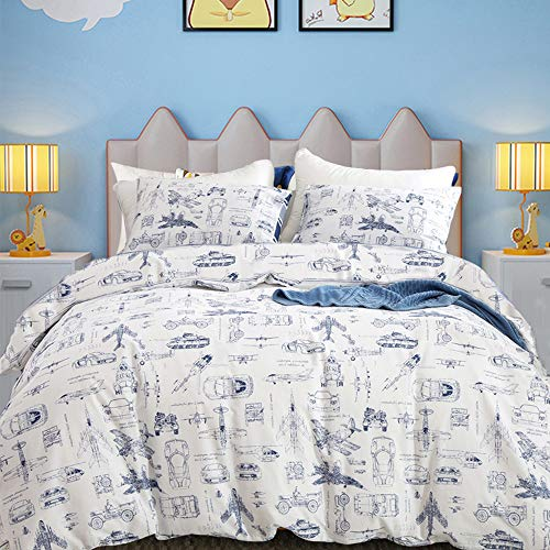 CLOTHKNOW Boys Duvet Cover Set Queen Cotton Cars Bedding Sets Full Teen Kids Tank Aircraft Transport...