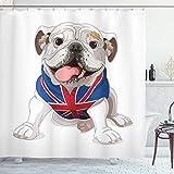 ABAKUHAUS Englische Bulldogge Duschvorhang, Welpe mit Flagge, mit 12 Ringe Set Wasserdicht Stielvoll Modern Farbfest & Schimmel Resistent, 175x200 cm, Marineblau Creme Rot