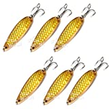 Fish WOW! 6pcs Set 2oz 6inch Fishing Spoon with Treble Hook Gold Tape