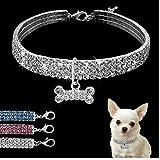 Cristallo Pet Dog collari guinzaglio Cucciolo di Chihuahua di Bling Strass Collare di Cane per i Piccoli Cani Medi Accessori Pet Products Bianco