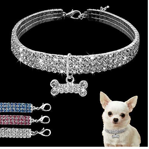 PiniceCore Crystal Mascotas Collares de Perro del Correo del Perrito del Collar de Perro del Rhinestone de Bling para la pequeña Chihuahua Perros medianos para Mascotas Productos Blanco