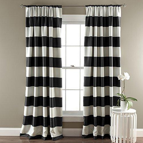Black Stripe Blackout Curtains Room Darkening Window Panel Set