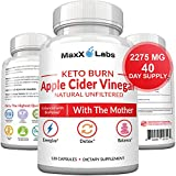 Apple Cider Vinegar Capsules with Mother + Keto BHB - 2275mg of Unfiltered, Pure, Natural, Detox ACV Keto Burn Formula – Fat Burners for Women & Men Potent Weight Loss Pills - Gluten-Free Supplements