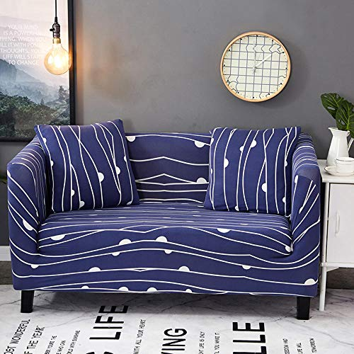 Funda de sofá Antideslizante de Poliéster Spandex Líneas Azules Estampado,Funda elástica Antideslizante Protector Cubierta de Muebles para sofá de 3 plazas(1 Funda de Cojines)