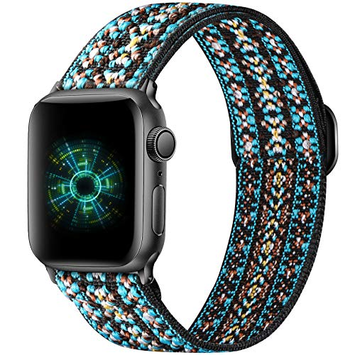 Ouwegaga Adjustable Elastic Bands Compatible for Apple Watch Band 44mm 42mm iWatch SE and Series 6 5 4 3 2 1 Fashion Cute Soft Stretchy Loop Woven Fabric Wristband for Women Men Blue Aztec Style