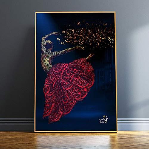DIY Pintar por números Caligrafía árabe lienzo artístico Sufismo islámico torbellino Derviche imagen Muris bailarina niña decoración religiosa pintura digital por números kits50x70cm(Sin marco)
