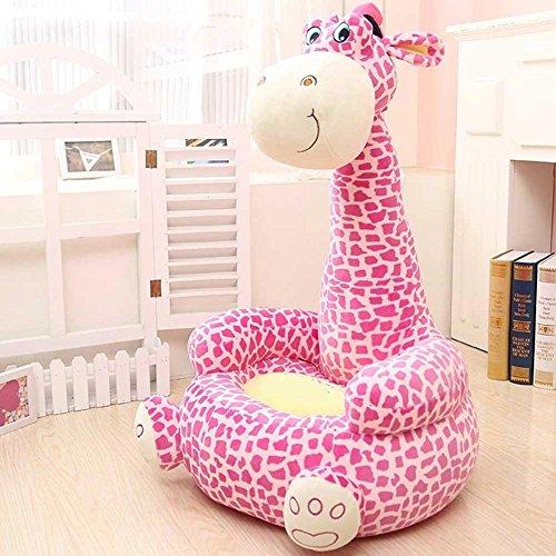 BAKAJI Divano Poltroncina Divanetto Bambini Maxi Peluche Forma Giraffa Sedia con Seduta Imbottita Arredo Stanzetta Cameretta Bimbi, Poltrona Soffice Alta qualità (Rosa)