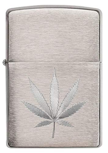 Zippo Brushed Chrome Marijuana Leaf Pocket Lighter (29587), One Size