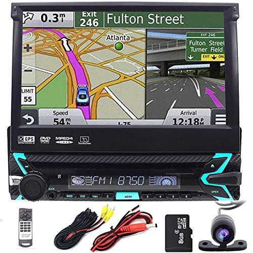 Caméra de recul incluse - 7'/17.8cm - 1 Din In Dash - Écran tactile amovible - Pour voiture - Autoradio GPS - Avec carte SD - Lecteur DVD RDS DVD CD USB SD AUX - HD Video DAB+