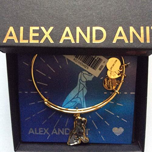 Alex and Ani Pulsera de perro de cristal brillante tarjeta de la caja de la etiqueta del oro