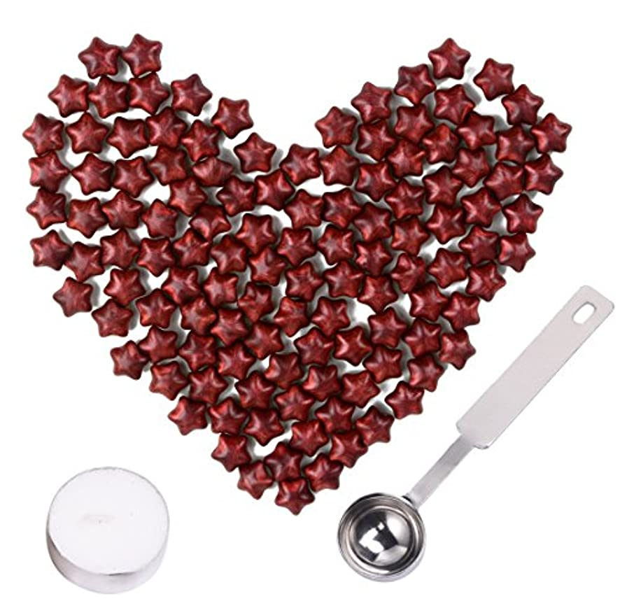 Aokbean European Retro Sealing Wax Beads Set Star Shape Sealing Wax Beads with Tea Light,Antique Bronze Engraved Wax Scale and Melting Spoon (New Wine Red)