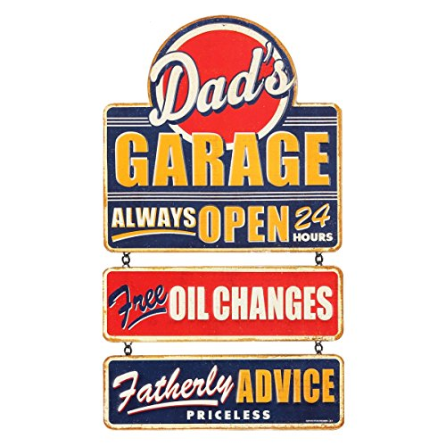 Open Road Brands Vintage Dad's Garage Linked Embossed Metal Wall Art Sign - an Officially Licensed Product Great Addition to Add What You Love to Your Home/Garage Decor