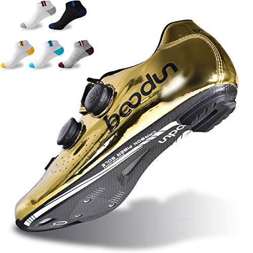 XFQ Adultos Ciclismo Zapatos, Zapatos Bici del Camino De La Fibra De Carbono De Amortiguación Zapatos De Ciclismo Profesional De Bloqueo con 5 Pares De Calcetines Deportivos,41eu