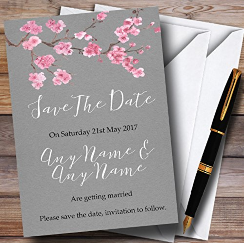 Rustic Vintage Dark Grey & Pink Blossom Personalized Wedding Save The Date Cards