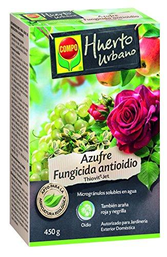 Compo Azufre fungicida anti oídio, Microgránulos solubles en agua, Para plantas ornamentales, arbustos y árboles, Apto para agricultura ecológica, 450 g