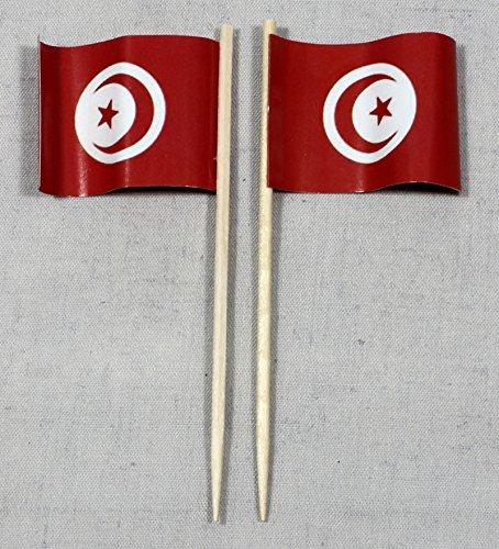 Buddel-Bini Party-Picker Flagge Tunesien Papierfähnchen in Profiqualität 50 Stück 8 cm Offsetdruck Riesenauswahl aus eigener Herstellung