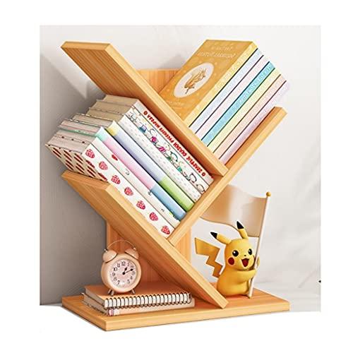 QIFFIY Estantería para libros de 3 capas, estantes de almacenamiento de pie, estantes de exhibición, estanterías altas de metal para sala de estar, dormitorio (color: nogal claro)