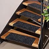 Stufenmatten Lyon   Schont Ihre Treppe und gibt Halt   Blauer Engel   einfache Montage Dank Klebestreifen   kombinierbar mit Läufer   4 Klassische Farben (Stufenmatte rechteckig 1 Stück, Schwarz) - 2