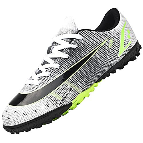 Dhinash Scarpe da Calcio Uomo Professionale Scarpe da Allenamento Scarpe da Calcetto Scarpe Sportive Bambini e Ragazzi Grigio 44EU