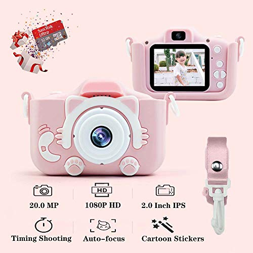 "Kids Camera, Children's Camera 1080P 20MP 2.0"" FHD Timing Auto-Focus Shooting Video Recorder Shockproof Digital Camera for Kids Gifts Best Gifts for 3-10 Year Old Boys Girls with 32GB SD Card (Pink)"