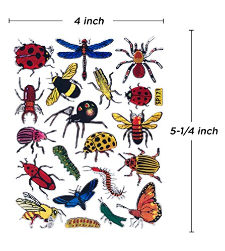 Insect Bug Butterfly Scrapbook Stickers for Kids (10 Sheets) |